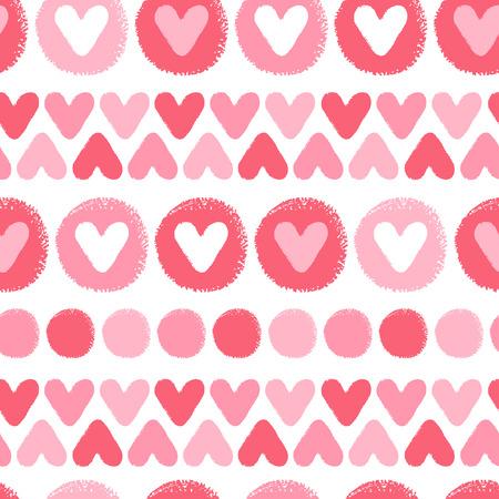 hilera: corazones y los círculos de pincel dibujado sin patrón. Fondo del día de San Valentín. Dibujado a mano - asperezas, artísticas. Las sombras de los corazones y los círculos de color rojo textura.