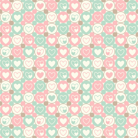 vintage colors: Hearts and circles seamless geometrical pattern. Valentines Day vintage simple background. Flat design. Soft pastel colors.