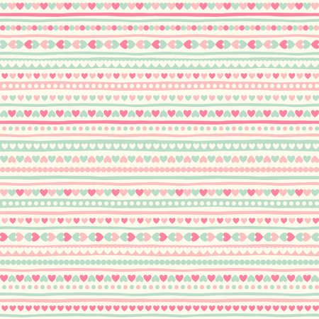teeny: Vintage geometrical abstract seamless pattern with tiny heart shapes, circles and stripes. Striped Valentines day background. Streaks made of hearts. Uneven bars with simple small elements texture.