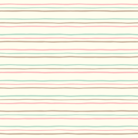 Vintage uneven stripes seamless pattern. Thin colorful streaks on light yellow backdrop. Striped retro background. Endless pinstripes texture. Soft pastel colors.