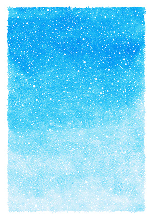 skies: Sky blue winter watercolor abstract background with falling snow splash texture and rough, uneven edges. Christmas, New Year painted template. Gradient fill. Hand drawn snowfall texture. Stock Photo