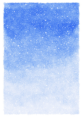 rough: Winter watercolor abstract background with falling snow splash texture. Christmas, New Year light cobalt blue painted template. Gradient fill. Rough, uneven edges. Snowfall texture.