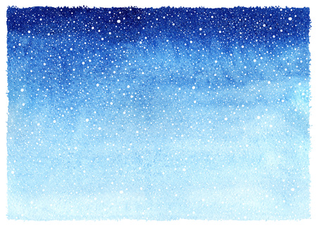 Winter watercolor horizontal gradient background with falling snow splash texture. Christmas, New Year hand drawn template with rough, uneven edges. Shades of blue watercolour stains.