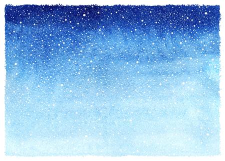 떨어지는 눈 시작 질감 겨울 수채화 수평 그라데이션 배경입니다. 크리스마스, 거친, 고르지 않은 가장자리 새 해 손으로 그린 템플릿입니다. 푸른