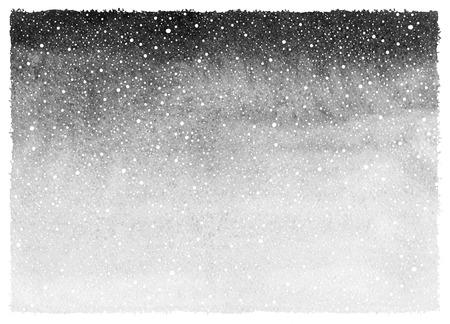 落下の雪しぶきのテクスチャを黒と白の冬水彩抽象的な背景と大まかな、不均一なエッジ。塗装のテンプレートです。白黒グレーのグラデーション