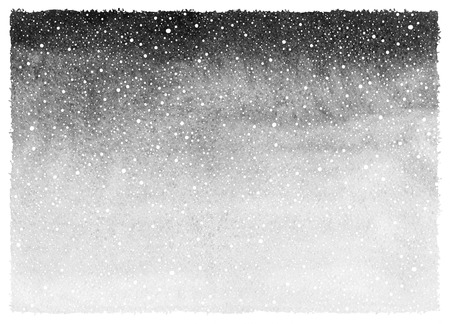 Black and white winter watercolor abstract background with falling snow splash texture and rough, uneven edges. Painted template. Monochrome grey gradient fill. Hand drawn snowfall texture.