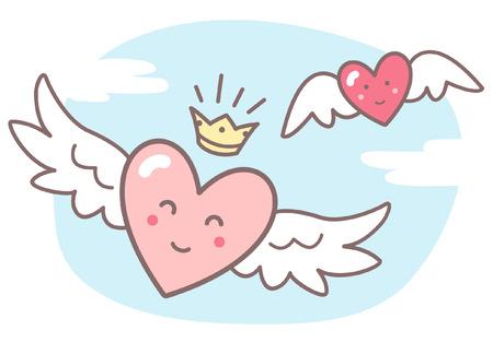nubes caricatura: Corazones con alas y caras sonrientes divertidas, cielo con nubes. ilustración vectorial Día de San Valentín. Imagen linda del estilo de dibujos animados. corazones con alas, corona brillante, azul cielo con nubes. Vectores