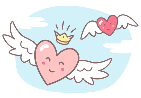 clouds cartoon: Hearts with wings and funny smiling faces, sky with clouds. Valentines Day vector illustration. Cute cartoon style picture. Winged hearts, shining crown, blue sky background with clouds. Illustration