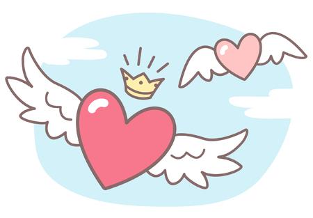 mosca caricatura: Corazones con alas, cielo con nubes. ilustración vectorial Día de San Valentín. Imagen linda del estilo de dibujos animados. corazones con alas, corona brillante, azul cielo con nubes.