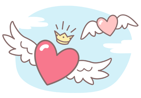 angel wing: Hearts with wings, sky with clouds. Valentines Day vector illustration. Cute cartoon style picture. Winged hearts, shining crown, blue sky background with clouds. Illustration