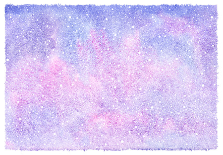 watercolour background: Winter watercolor abstract background with falling snow splash texture. Christmas, New Year hand drawn template with rough, uneven edges. White snowflakes, shades of blue and pink watercolour stains.