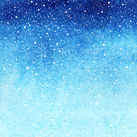 Blue gradient winter watercolor abstract background with falling snow splash texture. Christmas, New Year painted template. Hand drawn snowfall with rough paper texture. 版權商用圖片