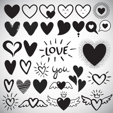 grunge heart: Big set of various heart templates - simple flat design hearts with cute faces, brush drawn with rough, uneven edge, speech bubbles, doodle hearts. Lettering LOVE and YOU. Different hearts collection.
