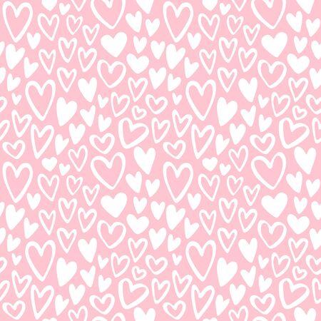 pastel colors: Corazones del Doodle Vector inconsútil del modelo. Fondo del día de San Valentín. Marcador dibuja diferentes formas de corazón. Dibujado a mano ornamento. Los colores pastel, rosa suave y blanco.