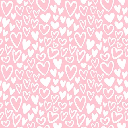 tiny: Doodle hearts seamless vector pattern. Valentines Day background. Marker drawn different heart shapes. Hand drawn ornament. Pastel colors, soft pink and white. Illustration