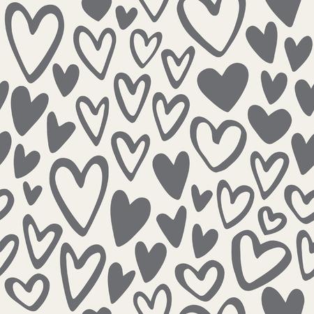 落書き心白黒シームレス パターン。バレンタインデーの背景。マーカーには、異なる心臓の形が描かれています。手描き飾り。