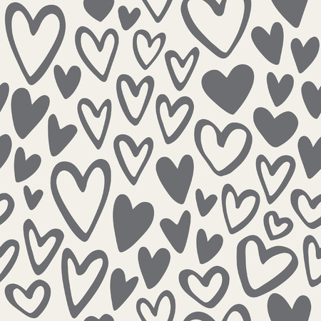 Doodle hearts monochrome seamless vector pattern. Valentines Day background. Marker drawn different heart shapes. Hand drawn ornament.