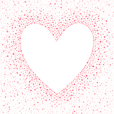 big size: Big heart shape frame with empty space for your greetings and dots texture. Valentines day frame made of hand drawn spots or blobs of various size. Shades of pink abstract background. Illustration
