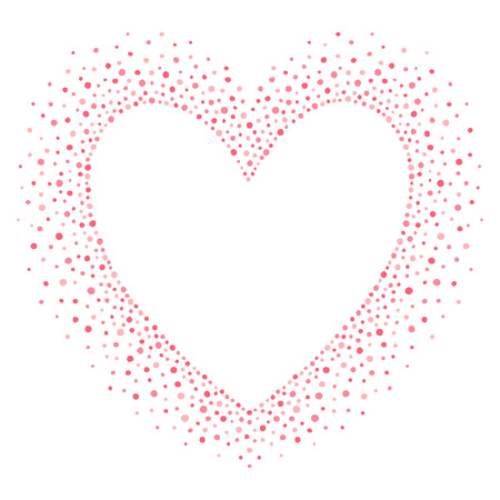big size: Big heart shape frame with empty space for your greetings. Valentines day frame made of hand drawn spots or dots of various size. Shades of pink abstract background.