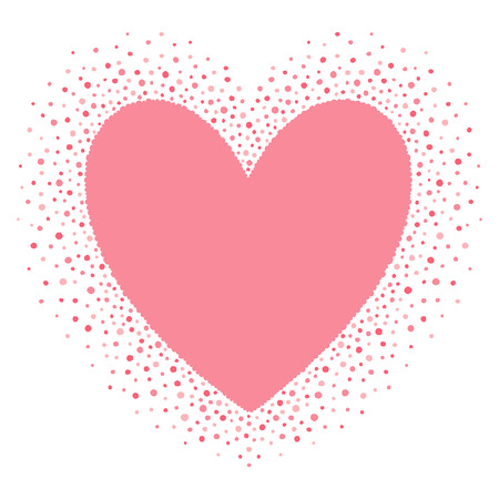 sputter: Big heart shape frame with empty space for your greetings. Valentines day frame made of hand drawn spots or dots of various size. Shades of pink abstract background.