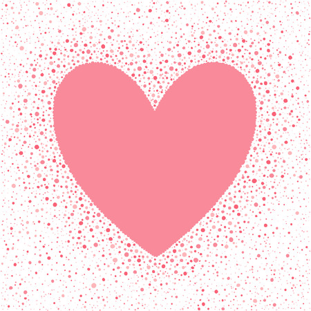 sputter: Big heart shape frame with empty space for your greetings and dots texture. Valentines day frame made of hand drawn spots or blobs of various size. Shades of pink abstract background. Illustration