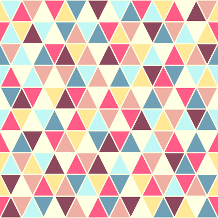 blue violet: Colorful triangles seamless vector pattern. Geometrical retro background. Pink, violet, blue, yellow triangles texture with white stroke.
