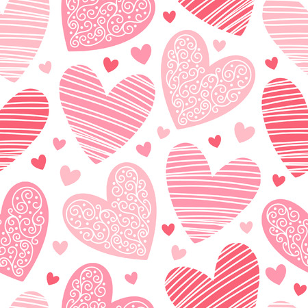 ornamentation: Valentines day background. Seamless pattern made of ornamental hearts of various size. Shades of red. Hearts with lacy ornamentation and hatching. Illustration
