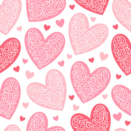 big size: Valentines day background. Seamless pattern made of ornamental hearts of various size. Big lacy hearts. Shades of red. Hearts with lacy ornamentation. Illustration
