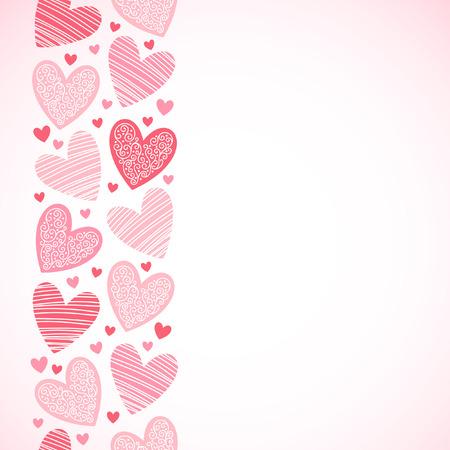 endlos: Grenze aus ornamentalen Herzen unterschiedlicher Größe. Nahtlose in vertikaler Richtung. Valentinstag Vektor Hintergrund mit Platz für Text. Schattierungen von Rot. Illustration
