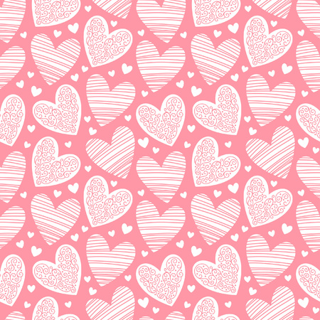 ornamentation: Valentines day background. Seamless pattern made of ornamental hearts of various size. Hearts pattern with lacy ornamentation and hatching.