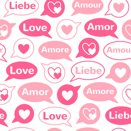confession: Valentines day simple seamless pattern. Speech bubbles with hearts and word LOVE in different languages: english, french, german, italian, spanish. Flat design. Valentine day background.