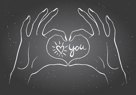 confession: Hands making a heart shape illustration. Valentines day card. Chalk drawn hands on black board in the form of heart with confession love you in center.