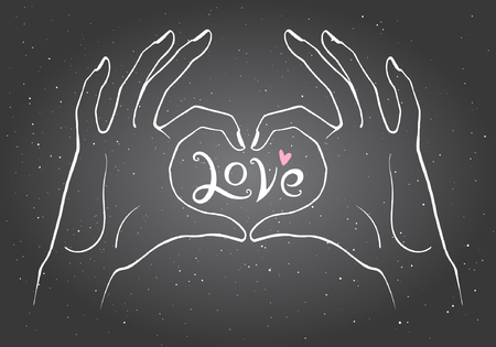 heart in hand: Hands making a heart shape illustration. Valentines day card. Chalk drawn hands on black board in the form of heart with word LOVE in center and tiny heart.