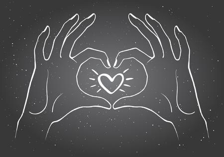 forme: Les mains faisant une illustration en forme de coeur. Saint-Valentin carte jour. Craie mains tirées à bord noir sous la forme de coeur avec le coeur qui brille dans le centre.