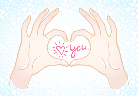 confession: Hands making a heart shape illustration. Valentines day card. Hands in the form of heart with confession love you in center. Hearts seamless pattern background. Colorful.