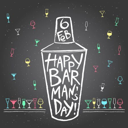 wine background: Barmans day vector illustration. Big chalk drawn shaker with greetings and date. Hand drawn International Barman day card - shaker and pattern background with tiny doodle style cocktail glasses.
