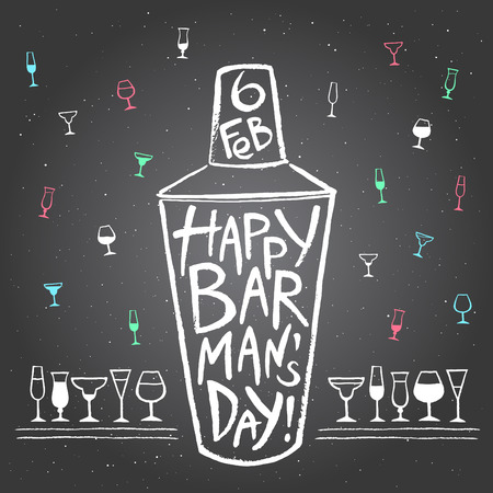 barkeeper: Barmans day vector illustration. Big chalk drawn shaker with greetings and date. Hand drawn International Barman day card - shaker and pattern background with tiny doodle style cocktail glasses.