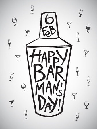 barkeeper: Barmans day vector illustration. Big brush drawn shaker with greetings and date. Hand drawn International Barman day card - shaker and pattern background with tiny doodle style cocktail glasses. Illustration