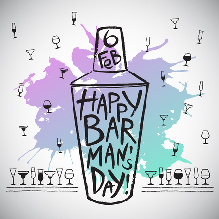 barkeeper: Barmans day vector illustration. Big brush drawn shaker with colorful blot, greetings and date. Barman day card - shaker, splash shape and pattern background with tiny doodle style cocktail glasses. Illustration