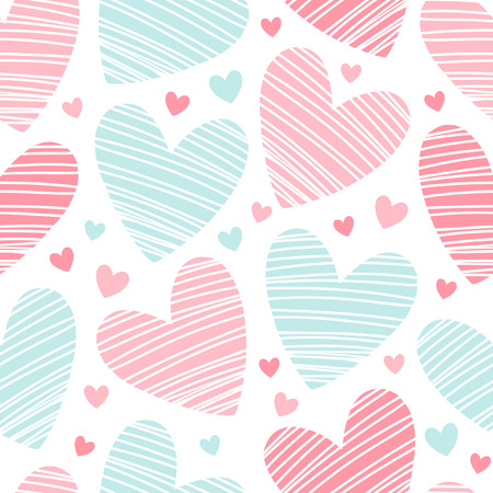 hearts background: Hearts texture. Valentines day background. Seamless pattern made of ornamental hearts of various size. Hearts with hatching.