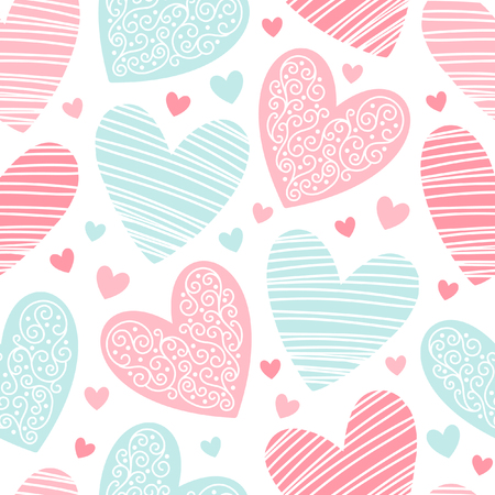 saint valentine: Hearts pattern with lacy ornamentation and hatching. Valentines day background. Seamless pattern made of ornamental hearts of various size.