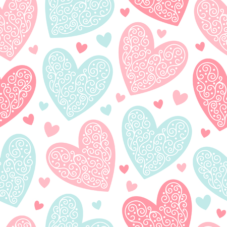 ornamentation: Valentines day background. Seamless pattern made of ornamental hearts of various size. Hearts pattern with lacy ornamentation. Illustration