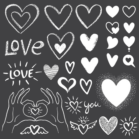 love shape: Valentines day collection or set of various heart templates - chalk hearts with rough edges, simple silhouettes, lacy, speech bubbles, doodles. Hands making a heart shape. Lettering LOVE and YOU. Illustration