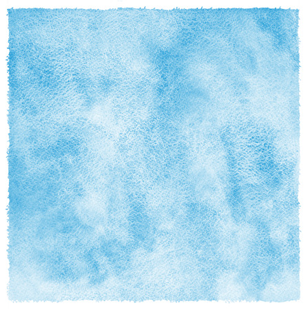 Blue watercolor abstract background with uneven edges. Hand drawn painted template. Shades of blue watercolour stains. Rough paper texture.