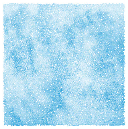 uneven edge: Winter watercolor abstract background with falling snow splash texture. Hand drawn template with uneven edges. Shades of blue watercolour stains. Rough paper texture.