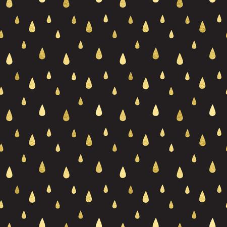 moist: Golden rain seamless pattern. Falling gold drops on black background. Rainy template.