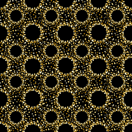 splatter paint: Golden circles geometrical abstract seamless pattern. Gold round shapes made of tiny dots background. Golden splash textured circles on black background. Illustration