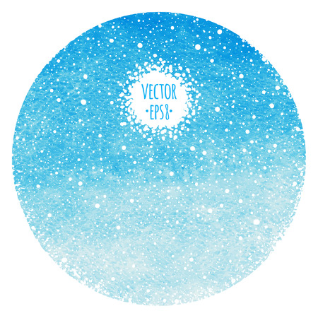 snow background: Round abstract winter background. Sky blue watercolor circle with falling snow splash texture. Christmas, New Year template. Gradient fill. Hand drawn snowfall texture. Snowflakes are removable.