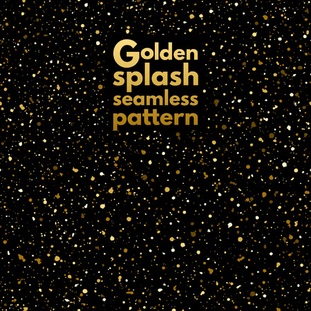 spangles: Gold splash or spangles seamless pattern. Shades of gold hand drawn spray texture. Golden blobs or uneven dots on black background endless template. Festive, birthday, party splatter background.