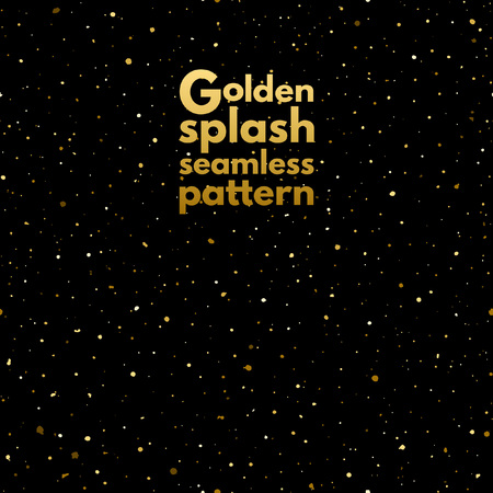 spangles: Gold splash, spangles or night sky with shining golden stars seamless pattern. Hand drawn spray texture. Uneven dots on black background endless template. Festive, birthday, party background. Illustration